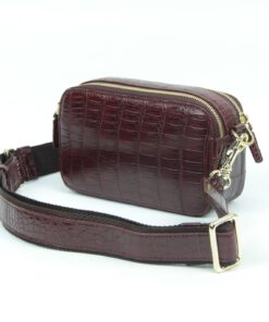 Crocodile Leather Waist Bag , Wine
