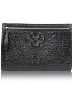 Crocodile Leather Zipper Document Case , Black