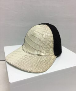 Crocodile & Python Leather Hat , Himalayan & Black