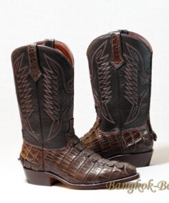 Crocodile Tail Leather Cowboy Boot , Dark Brown