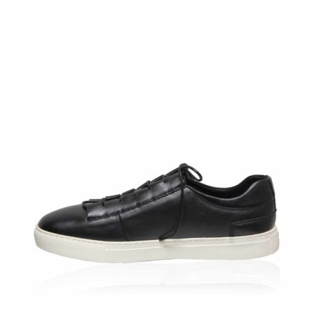 Lamb Leather Lace Up Sneaker , Black