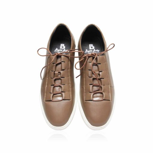 Lamb Leather Lace Up Sneaker , Coffee