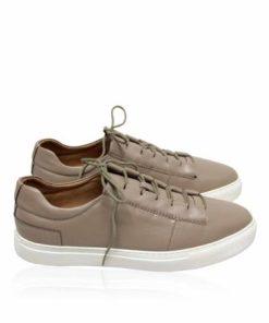 Lamb Leather Lace Up Sneaker , Khaki