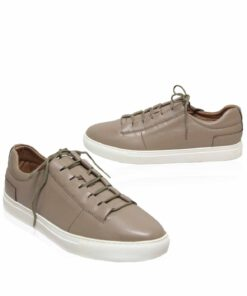 Lamb Leather Lace Up Sneaker , Khaki