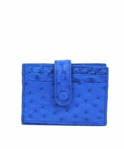 Ostrich Leather Cardholder , Blue