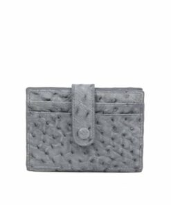 Ostrich Leather Cardholder , Grey