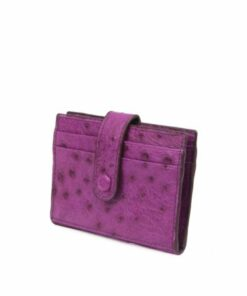 Ostrich Leather Cardholder , Purple