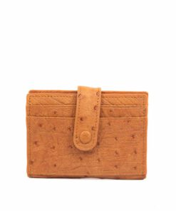 Ostrich Leather Cardholder , Tan