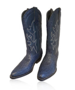 Ostrich Leather Cowboy Boot , Dark Blue