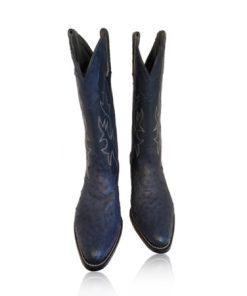 Ostrich Leather Cowboy Boot , Dark Blue