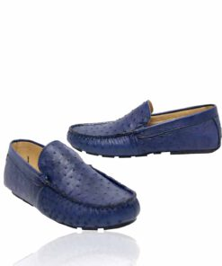 Ostrich Leather Moccasin , Blue