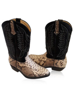 Python Leather Cow Boy Boot , Natural