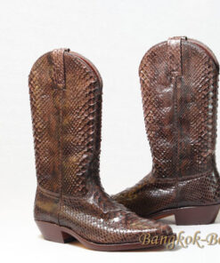 Python Leather Cowboy Boot , Light Brown