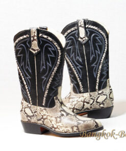 Python Leather Cowboy Boot , Natural