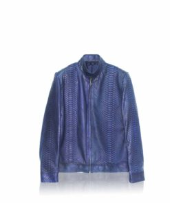 Python Leather Jacket , Blue