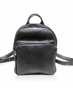 Python Leather School Bag , Black