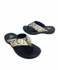 Python Leather Thong Sandal , Natural