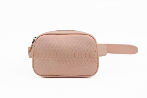 Python Leather Waist Bag , Pink