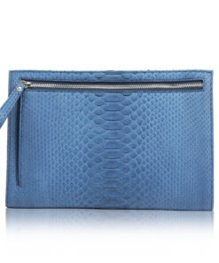 Python Leather Zipper Document Case , Blue Jean