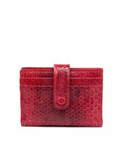 Sea Snake Leather Cardholder , Red