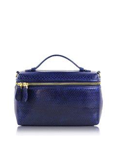 Selena Sea Snake Leather Sling Bag , Size 20 , Dark Blue