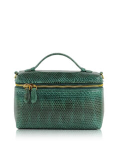 Selena Sea Snake Leather Sling Bag , Size 20 , Green & Black