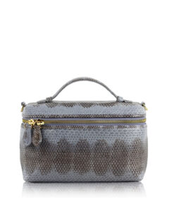 Selena Sea Snake Leather Sling Bag , Size 20 , Grey & Black