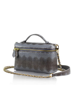 Selena Sea Snake Leather Sling Bag , Size 20 , Grey & Black