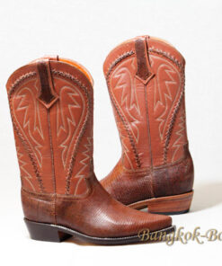 Snake Leather Cowboy Boot , Light Brown