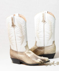 Snake Leather Cowboy Boot , White Himalayan