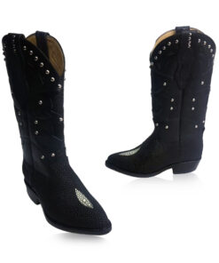 Stingray Leather Cow Boy Boot , Black