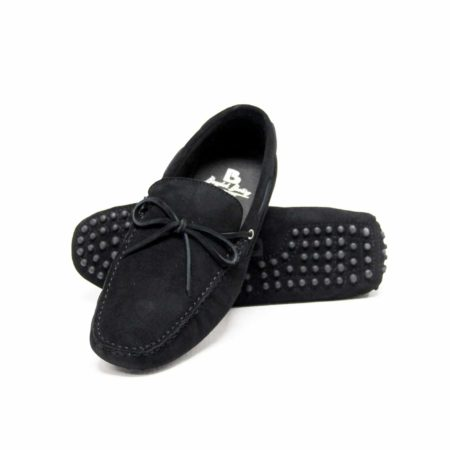 Suede Leather Moccasin , Black