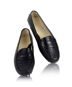 Crocodile Leather Moccasin Shoes, Black