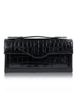 FURI Crocodile Leather Clutch Bag, Black, Size 25