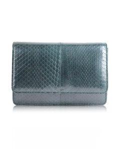 WINNIE Cobra Leather Clutch Bag, Poker Green