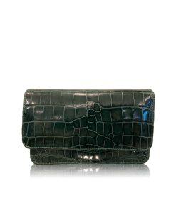 Barzaar Shiny Emerald Green Crocodile Sling Bag
