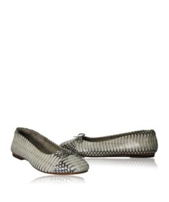 Cobra Leather Fringe Ribbon Flat Shoes, Natural