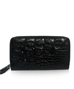 Crocodile Hornback Leather Round Zipper Purse