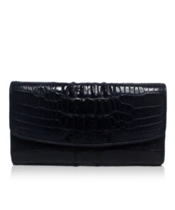 Crocodile Hornback Leather Women's Purse, Black