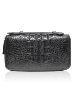 Crocodile Leather Handle Wallet, Black