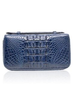 Crocodile Leather Handle Wallet, Blue