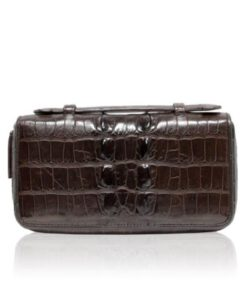 Crocodile Leather Handle Wallet, Brown