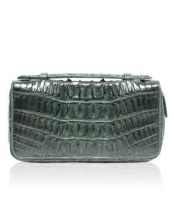 Crocodile Leather Handle Wallet, Dark Green