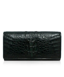 Crocodile Leather Purse, 3 Fold C, Dark Green