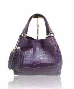 """Hussal"" Crocodile Leather Tassel Hobo Bag"