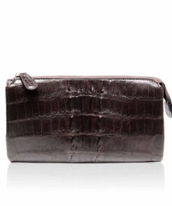 Crocodile Leather Wallet, Brown