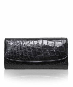 Crocodile Leather Women's Purse, Black