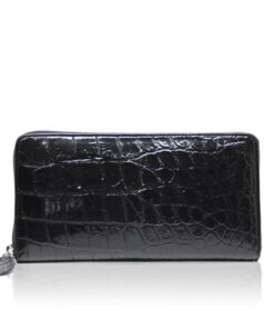 Crocodile Round Zipper Purse, Black
