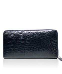 Crocodile Round Zipper Purse, Dark Blue