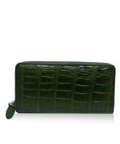 Crocodile Round Zipper Purse, Green